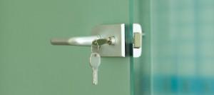 Silver door lock with key