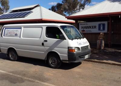 Clark locksmiths mobile van at Hawker (country South Australia) where Steve Clarke - the head locksmith - fixed a safe