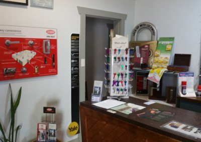 Display of keys and door locks inside Clark Locksmith's showroom on 16 The Parade, Norwood S.A.5067