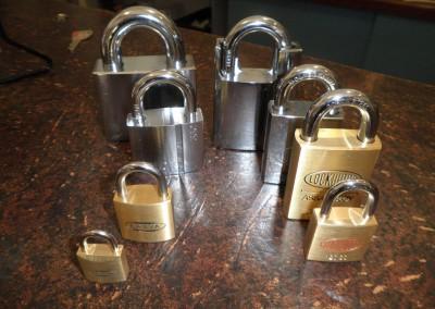 Clark Locksmiths range of padlocks - both big and small
