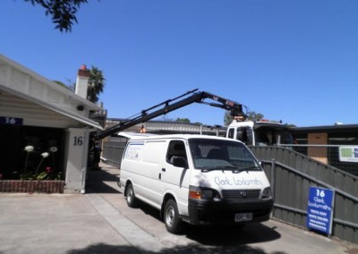 Transporting safes using cranes is a regular occurrence for Clarke Locksmiths all around metropolitan Adelaide and country South Australia